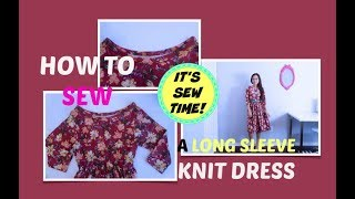 HOW TO SEW DIY LONG SLEEVE KNIT DRESS