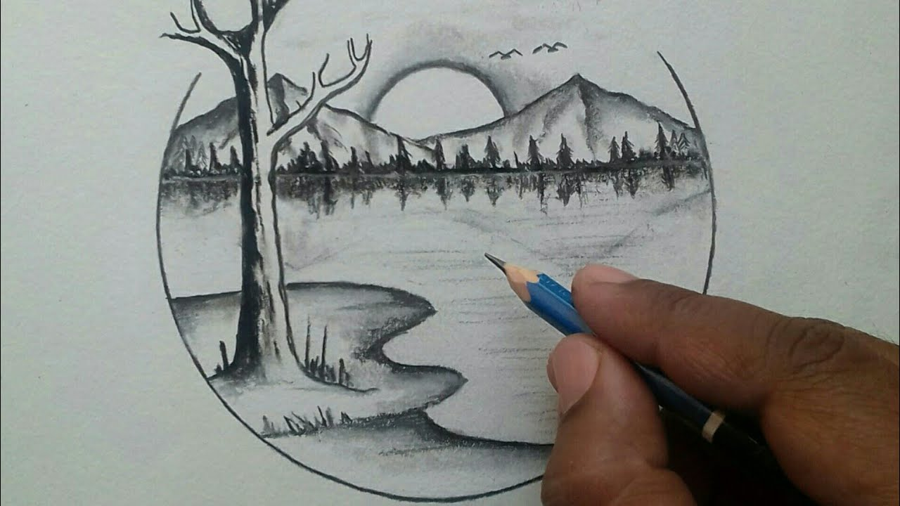 How To Draw Beautiful Scenery Of Nature Easy Drawing Youtube