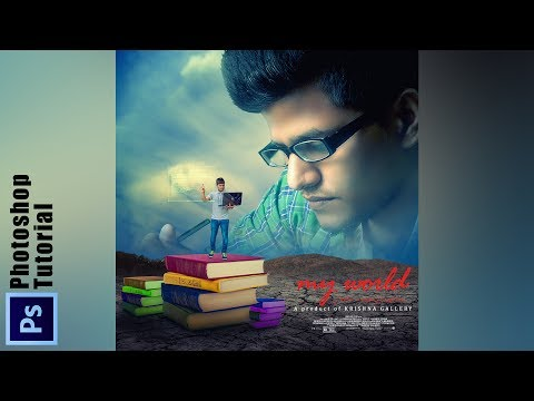 a boy studying in digital way Photoshop Manipulation    Creative Poster Design in photoshop CC/CS6