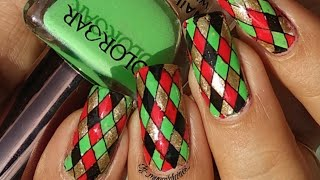 Red & Green Geometric Nail Art Tutorial!! Nicolediary L09 Stamping Plate Review And Demo!!!