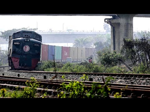 Bangladeshi Freight Train  Passing Kuril Flyover,Dhaka, Bangladesh