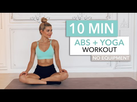 """10 MIN ABS + YOGA  - a slow and """"relaxed"""" workout for super strong abs / No Equipment I Pamela Reif"""