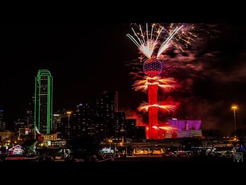 New Year's Fireworks Display At Reunion Tower In Dallas