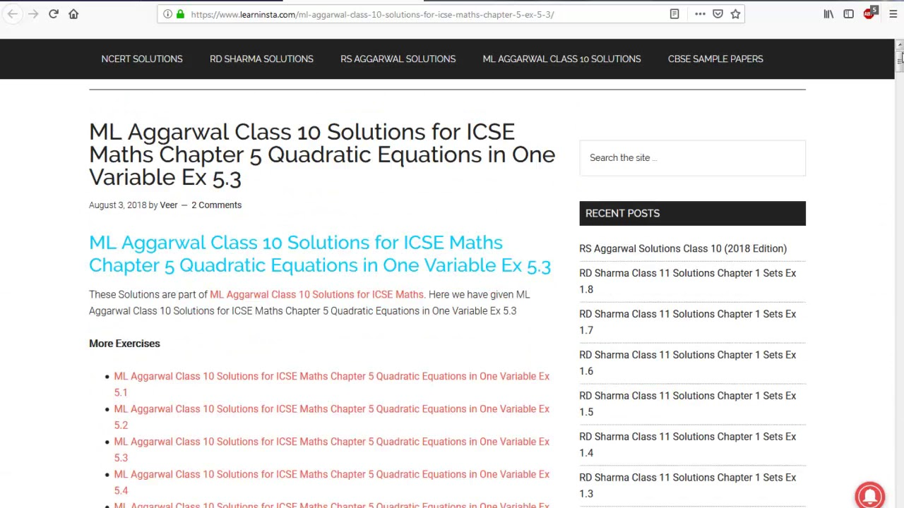 Quadratic Equation Class 10 Test Paper Icse