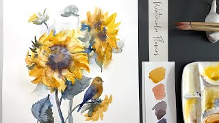 Sunflowers - Loose watercolor painting demonstration