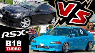 DRAG Acura RSX K20/24 vs EG B18C4 Turbo