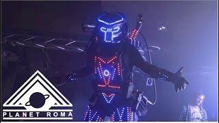 Planet disco Roma con animazione robot alieno con co2 e laser