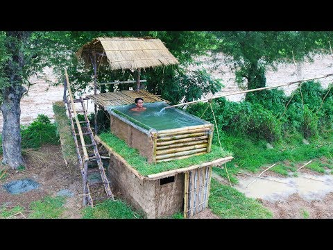 Building Most Beautiful Bamboo Swimming Pool On The Villa House By Ancient Skills - Full Video