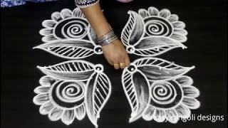 Friday flower kolam with 6 dots || easy rangoli designs for varalakshmi vratham || Sravana muggulu
