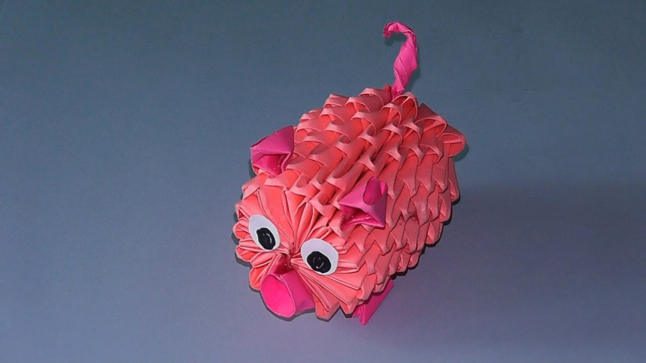 3D origami how to make a pig (piglet) tutorial (modular ...