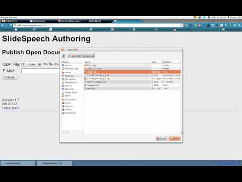 text to speech TTS on the web using an ODP file presentation