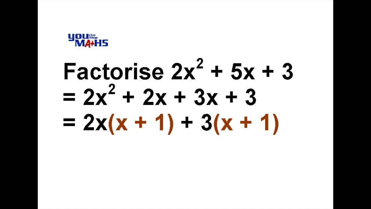 Factorising Quadratic Expressions 3 - YouTube