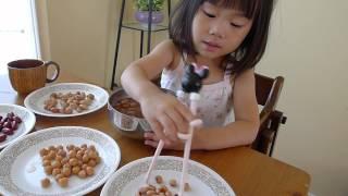 モンテッソーリ教育の本に影響されて、豆仕分けを試してみたら楽しそう...