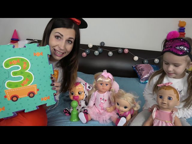 Lika plays with BABY DOLL and LEARN NUMBERS with DOLLS\NUMBERS SONG with JoyJoy Lika