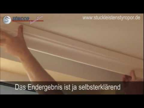 stuckprofile zur verkleidung der gardinenschiene youtube. Black Bedroom Furniture Sets. Home Design Ideas