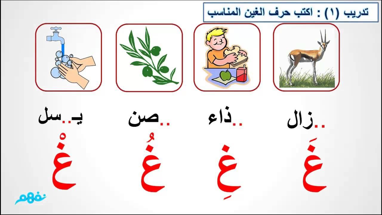 حرف الغين الصف الأول الابتدائي اللغة العربية موقع نفهم موقع نفهم Youtube
