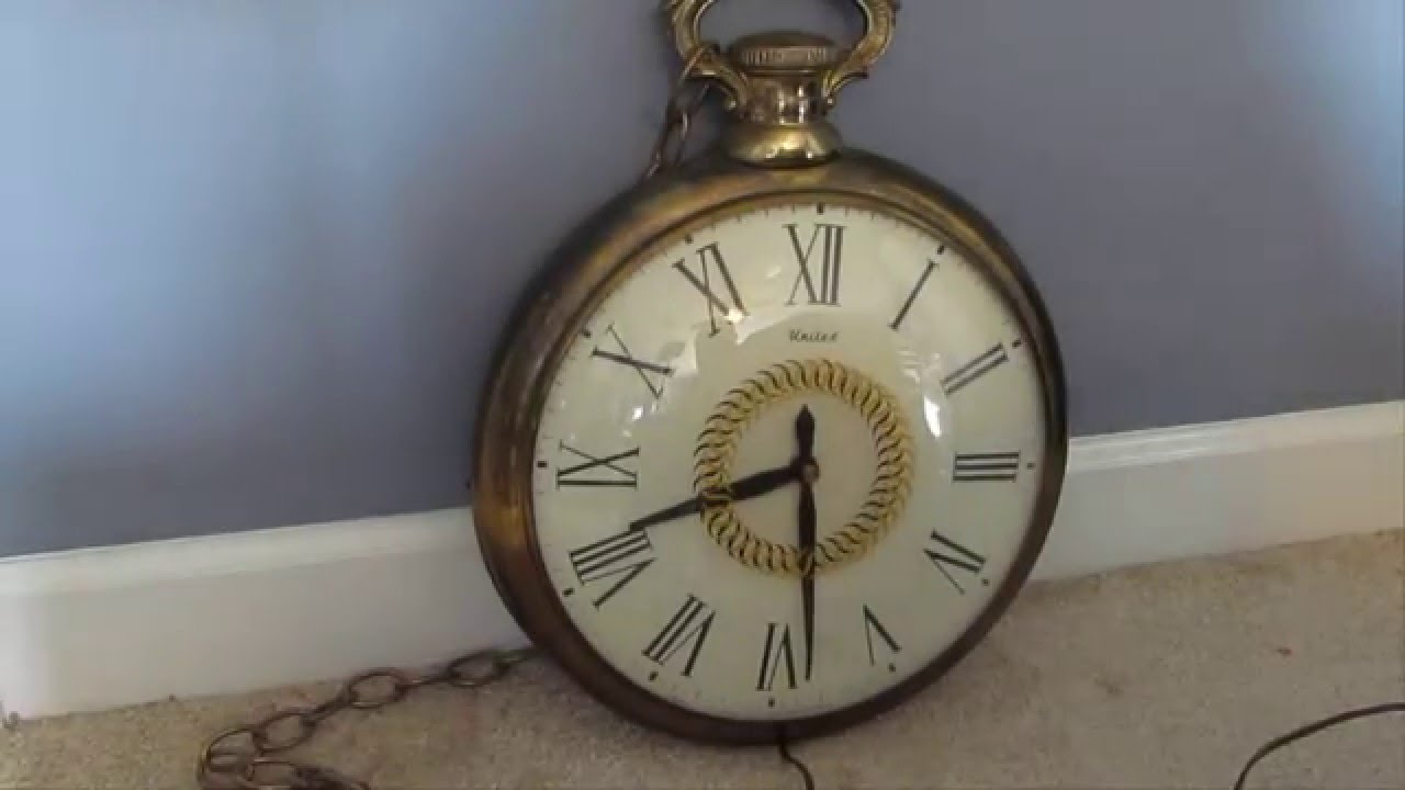 Vintage Brass 1960s Electric United Pocket Watch Wall Clock   YouTube