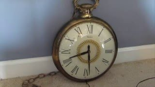 Vintage Brass 1960s Electric United Pocket Watch Wall Clock
