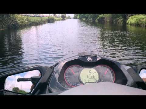 Riding the Jet Ski Seadoo GTI155LTD in Miami canal