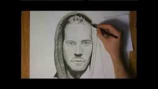 Paul Walker Pencil and Charcoal Drawing Video