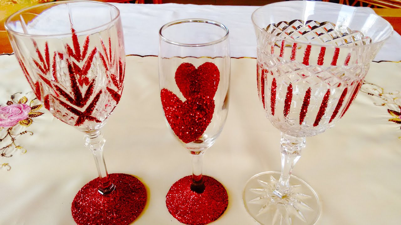 Valentine S Day Sparkling Romantic Wine Glasses Youtube