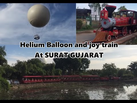 First Ride of Helium Balloon and joy train at Surat botanical garden