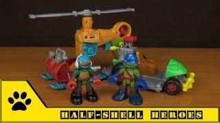 Playmates Toys - TMNT: Half-shell Heroes. Мультяшные черепашки-ниндзя с транспортом Раф и Лео.