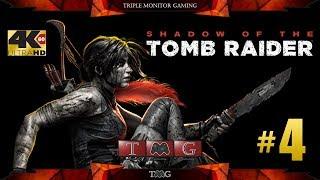 SHADOW OF THE TOMB RAIDER [4K@60fps] walkthrough part 4   Triple monitor gameplay 5760x1080