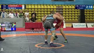 Round 3 FS - 100 kg: J. E ANDERSON (USA) v. M. DE BEER (RSA)