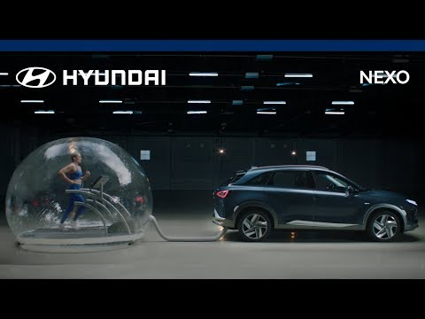 Hyundai put a runner inside a bubble of Nexo exhaust