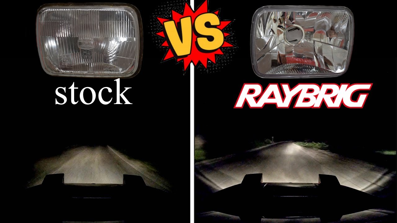 STOCK vs RAYBRIG headlights - INSTALL and REVIEW