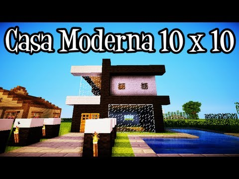 Tutoriais minecraft como construir uma casa moderna 10x10 for Casa moderna minecraft 0 12 1