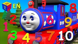 Repeat youtube video Learn to count to 10 with Choo-Choo Train. Cartoons for children kids toddlers