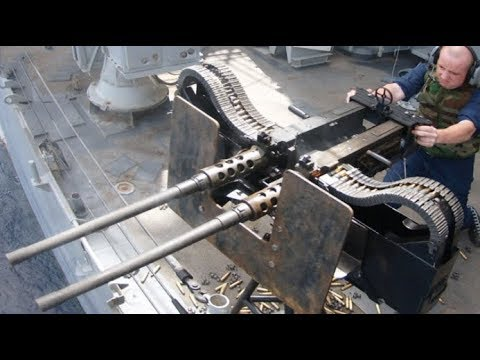 US Navy Firing the Monstrously Powerful Twin  50 M2HB + Twin M240/ MK 45 Mk/ 38