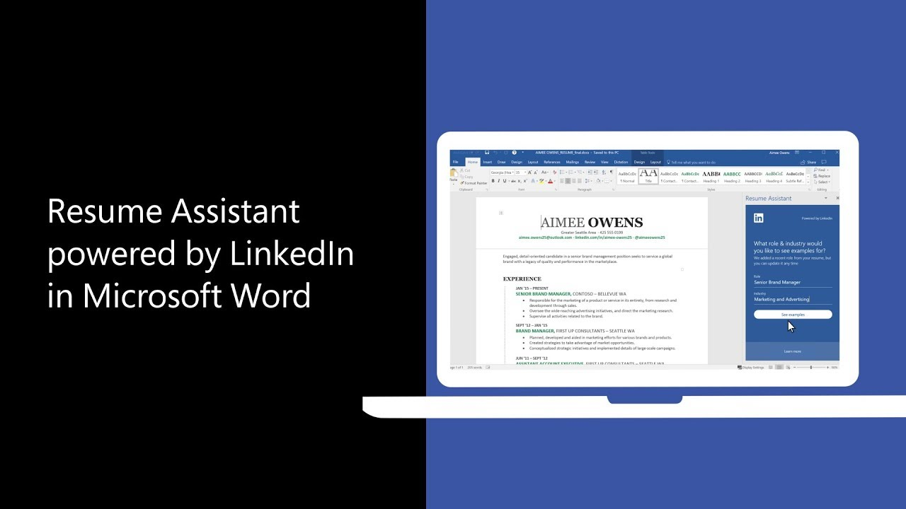 resume Linkdin Resume resume assistant brings the power of linkedin to word help you craft your resume