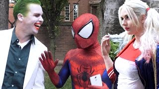 SPIDER-MAN meets HARLEY QUINN & THE JOKER - Superhero Dating in Real Life - TheSeanWardShow