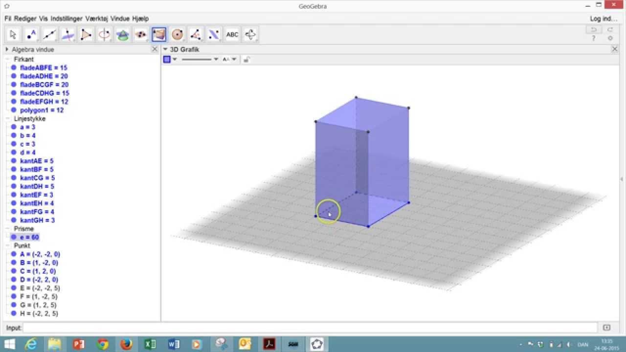 geogebra 3 d tegning af kasse youtube. Black Bedroom Furniture Sets. Home Design Ideas