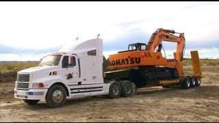 RC ADVENTURES - 1/12 Scale Earth Digger 4200XL Excavator pulled on Triple Axle Trailer