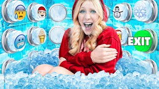 100 ICE Mystery Buttons but Only ONE Lets You Escape... *frozen*