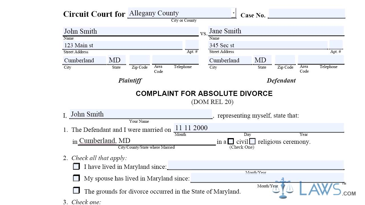 CCDR20 Complaint For Absolute Divorce - YouTube