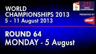R64 - MS - Lin Dan vs Sattawat Pongnairat - 2013 BWF World Championships
