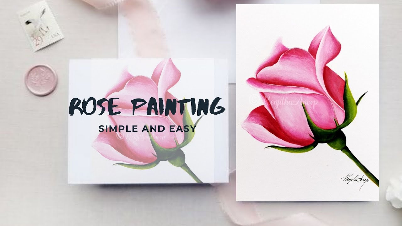 how to paint a Rose acrylics simple and easy STEPS / Step by step acrylic painting beginners ...