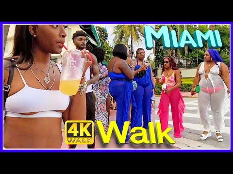 【4K】Walk HOT Ocean Drive At SUNSET South MIAMI Beach SLOW TV
