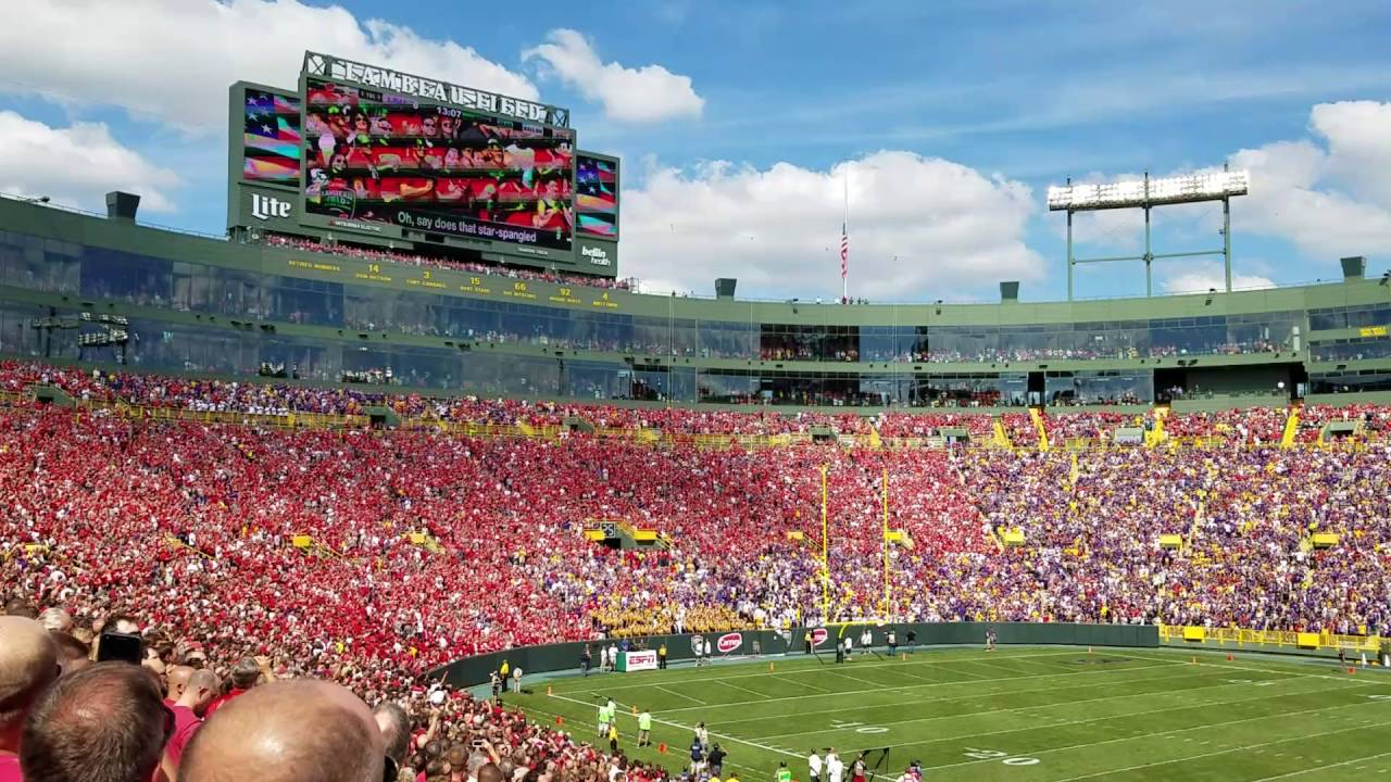 National anthem during LSU vs Wisconsin at Lambeau field