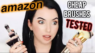 AMAZON MAKEUP BRUSHES TESTED! Full Face Using Affordable Brush Sets
