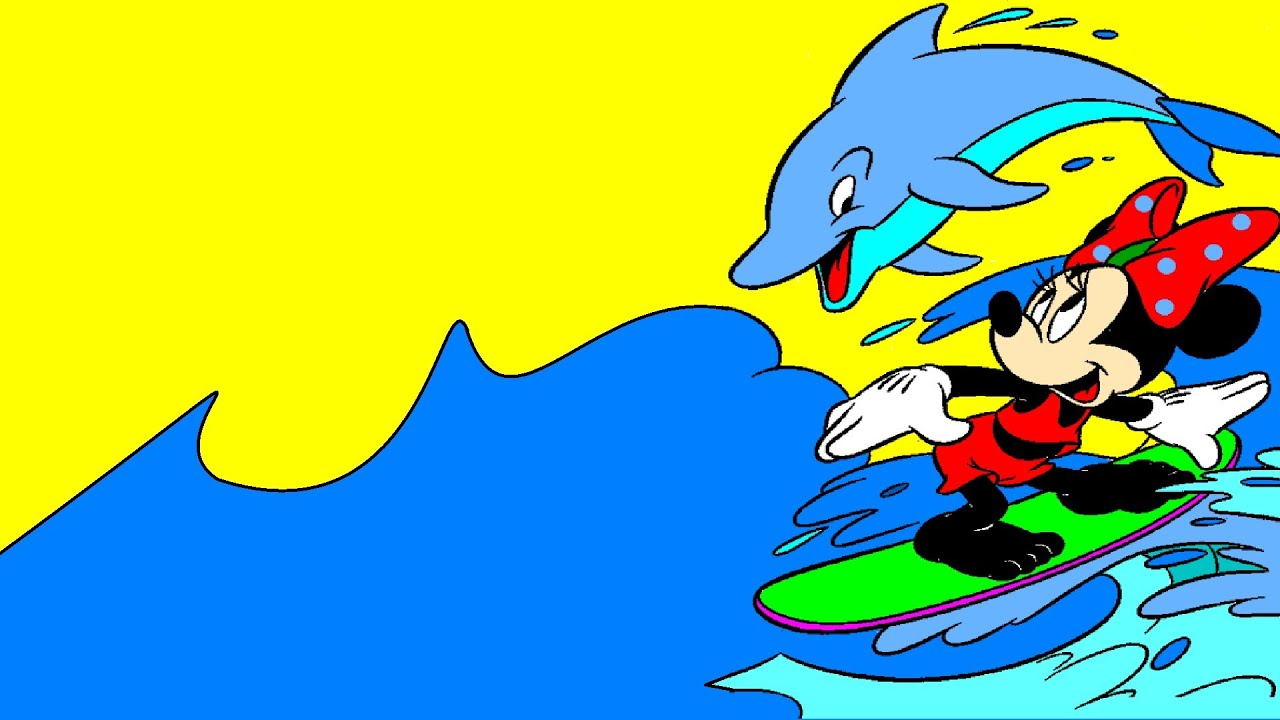 minnie mouse sea surfing with dolphin coloring pages coloring