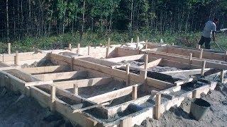 Как сделать фундамент. Заливка фундамента, опалубка для фундамента. Фундамент для дома(Как самому сделать фундамент, залить бетон, выставить опалубку под фундамент Канал с видеороликами на стро..., 2014-06-16T11:59:15.000Z)