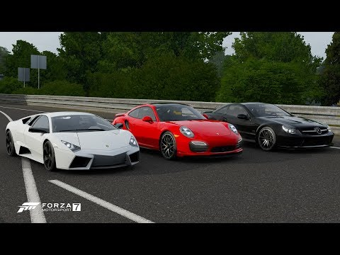 Forza 7 Drag Race: Lamborghini Reventon Vs Porsche 911 Turbo S Vs Mercedes-Benz SL65 AMG
