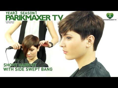 Короткая стрижка с удлиненной челкой Short haircut with side swept bangs. parikmaxer tv