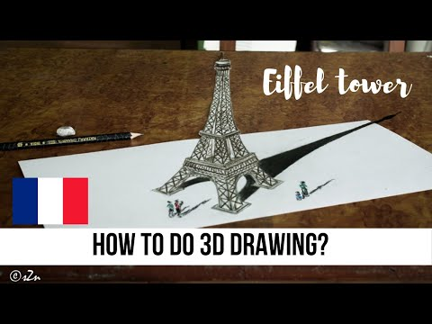 Paris Eiffel Tower 3D Drawing | Optical Illusion | How To Draw